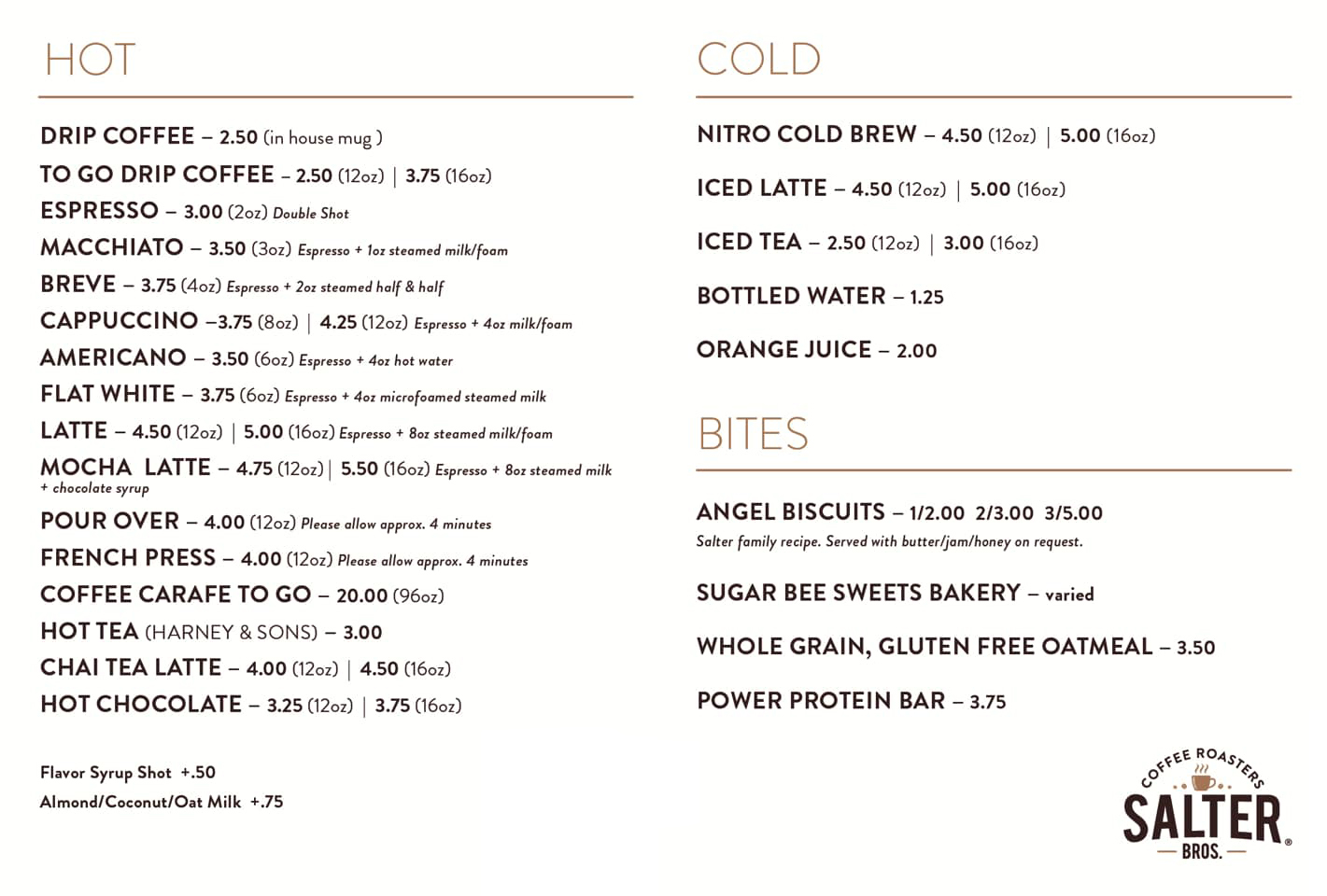 Salter Bros. Coffeehouse Menu